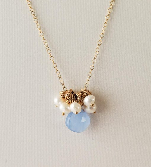 Blue drop and pearl cluster necklace in gold handmade by Carrie Whelan Designs