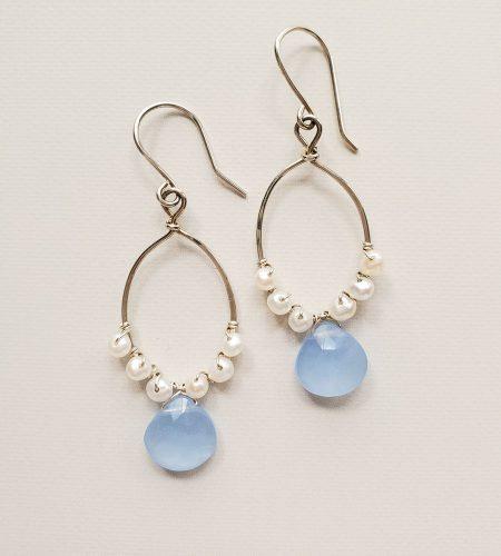blue gemstone and pearl hoop earrings in sterling silver by Carrie Whelan Designs