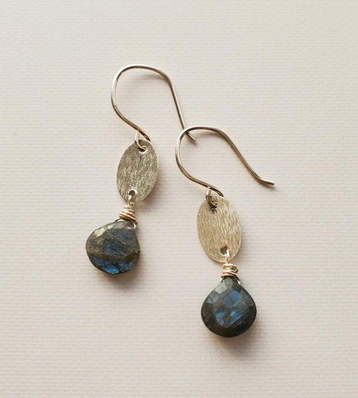 Brushed silver oval & labradorite earrings handmade by Carrie Whelan Designs