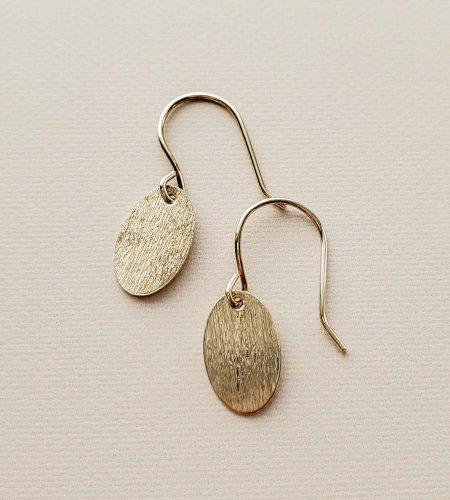 Brushed silver oval earrings handmade by Carrie Whelan Designs