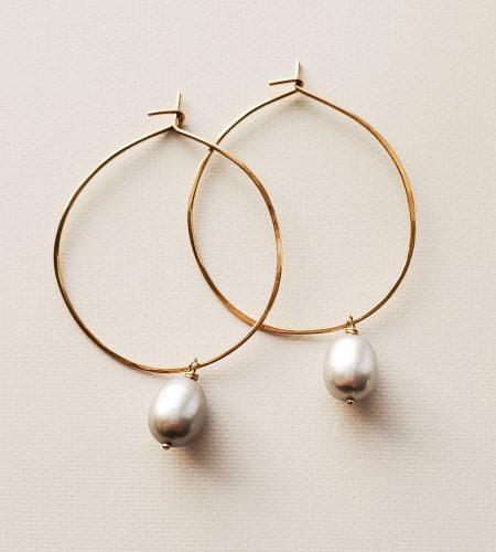 Gray freshwater pearl hoops handmade by Carrie Whelan Designs