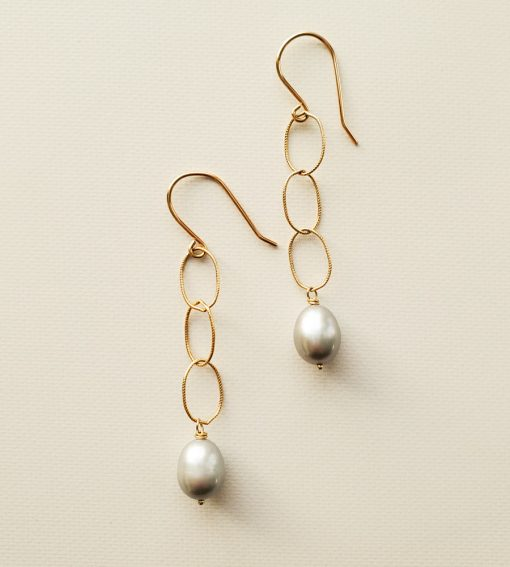 Gray pearl and gold chain earrings handmade by Carrie Whelan Designs