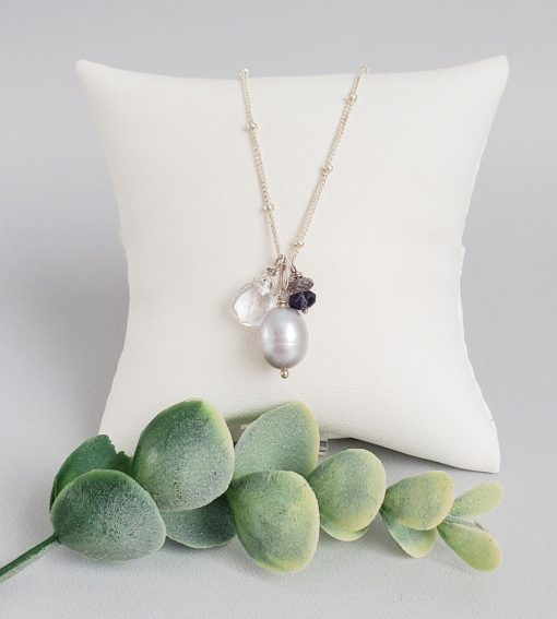 Gray pearl and gemstone cluster pendant handmade by Carrie Whelan Designs