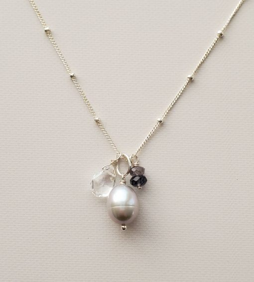 Gray pearl and iolite cluster pendant necklace handmade by Carrie Whelan Designs
