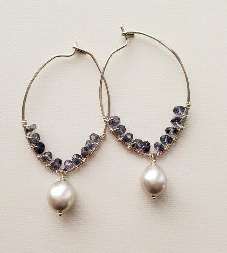 Iolite and gray pearl hoops handmade by Carrie Whelan Designs