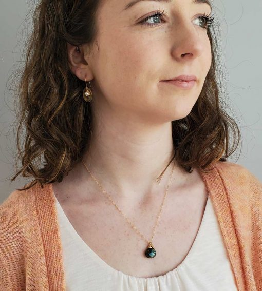 Labradorite gold charm pendant and earrings handcrafted by Carrie Whelan Designs