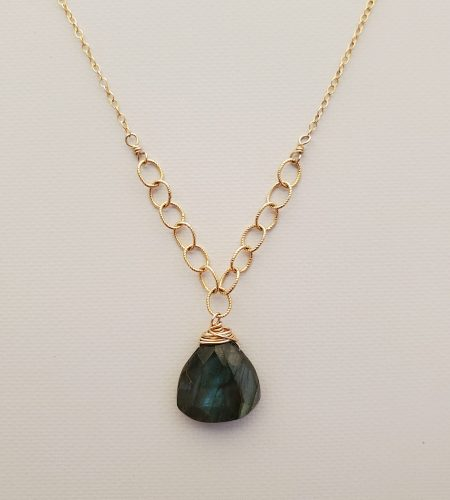 Large labradorite drop necklace in 14kt gold fill handmade by Carrie Whelan Designs