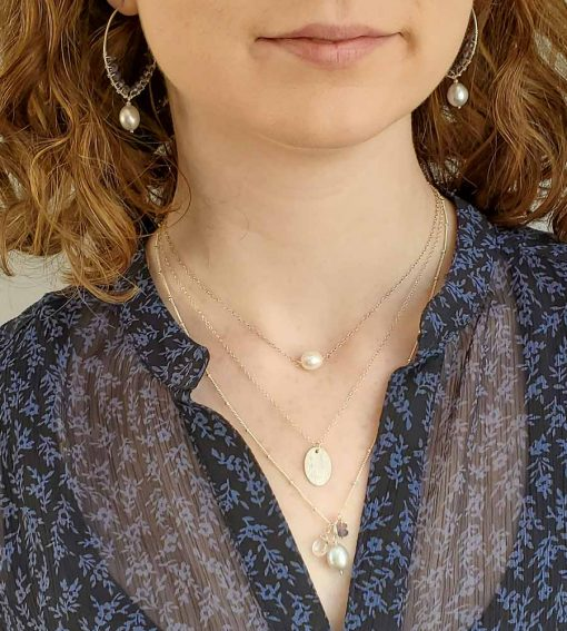 Layered silver and gemstone necklaces with hoop earrings handmade by Carrie Whelan Designs