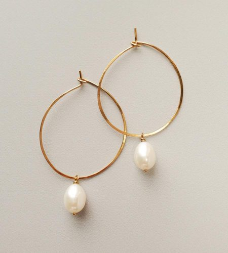 White freshwater hoops handmade in 14kt gold fill by Carrie Whelan Designs