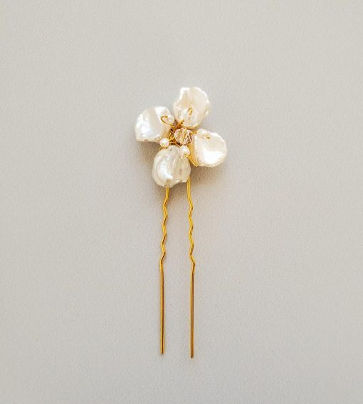 handmade freshwater pearl flower hair pin in gold for wedding by Carrie Whelan Designs
