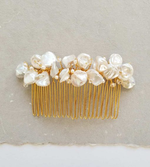 handmade freshwater keshi pearl hair comb in gold for bride by Carrie Whelan Designs