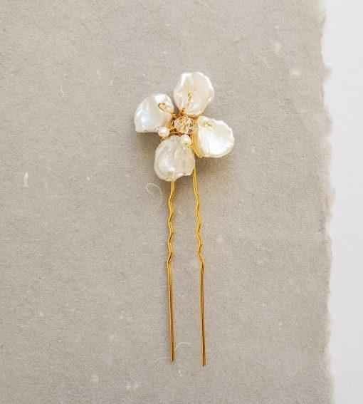 Handmade keshi pearl flower hair pin in gold for bride by Carrie Whelan Designs