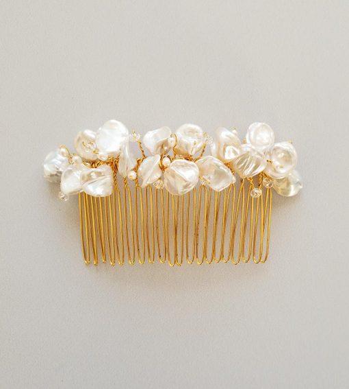 Handmade keshi pearl, gold hair comb for wedding by Carrie Whelan Designs