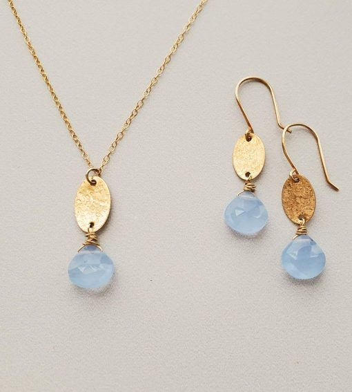 Dainty blue chalcedony and gold charm jewelry handcrafted By Carrie Whelan Designs