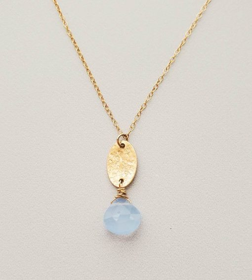 Dainty blue chalcedony and gold fill charm pendant necklace handcrafted By Carrie Whelan Designs