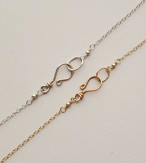 Gold fill or sterling silver hook clasp handmade by Carrie Whelan Designs