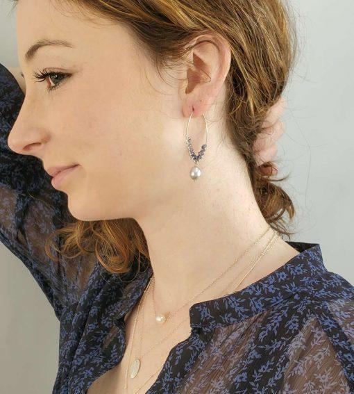 Iolite and freshwater pearl silver hoop earrings handmade by Carrie Whelan Designs