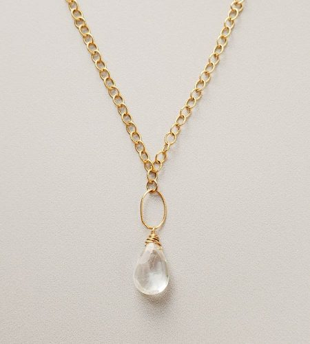 Large quartz twisted chain necklace in gold handmade by Carrie Whelan Designs