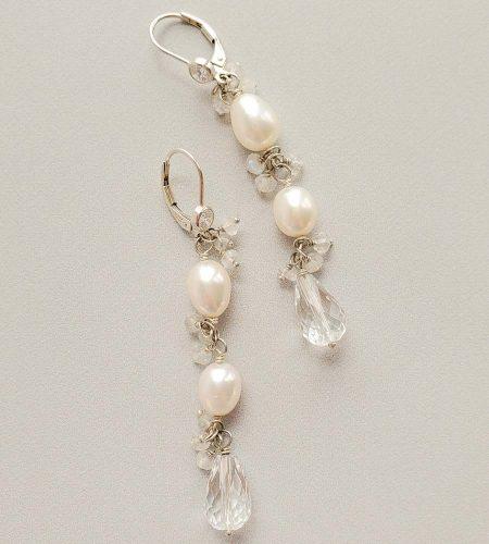 Freshwater pearl and moonstone cluster bridal earrings handmade bridal jewelry by Carrie Whelan Designs