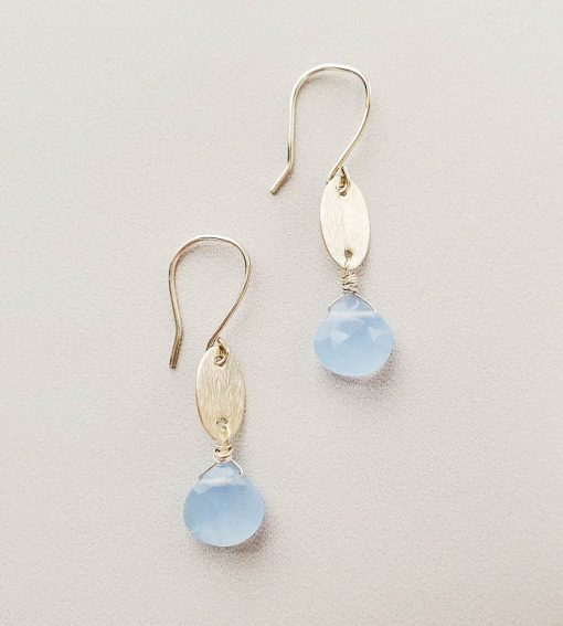 Handcrafted brushed silver and blue gem earrings handmade by Carrie Whelan Designs