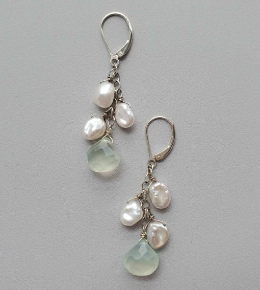 Aqua chalcedony and keshi pearl cluster earrings in sterling silver by Carrie Whelan Designs