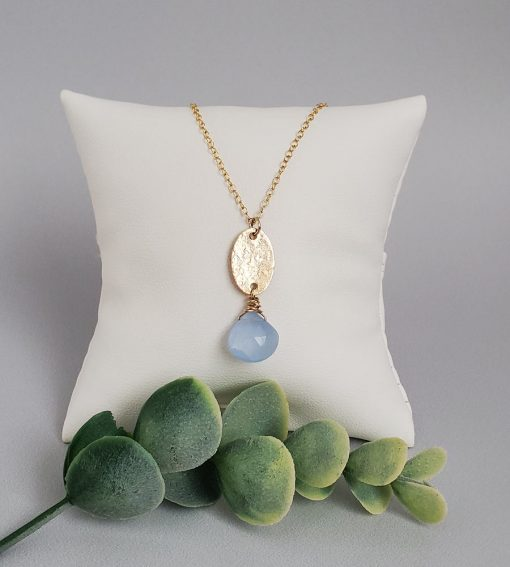 Blue chalcedony gold fill pendant handmade by Carrie Whelan Designs
