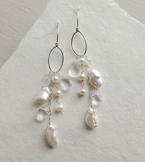 Boho chic gemstone bridal hoop earrings in silver handmade by Carrie Whelan Designs