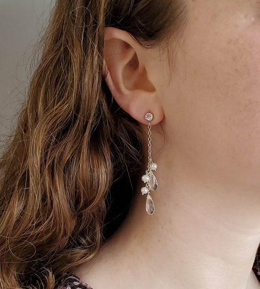 Freshwater pearl & CZ dangle bridal earrings by Carrie Whelan Designs