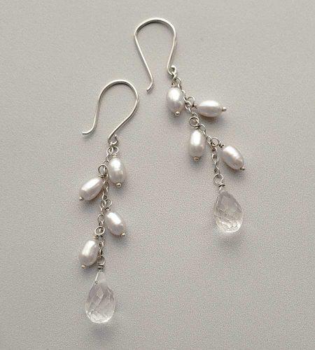 Gray freshwater pearl and quartz drop earrings handmade by Carrie Whelan Designs