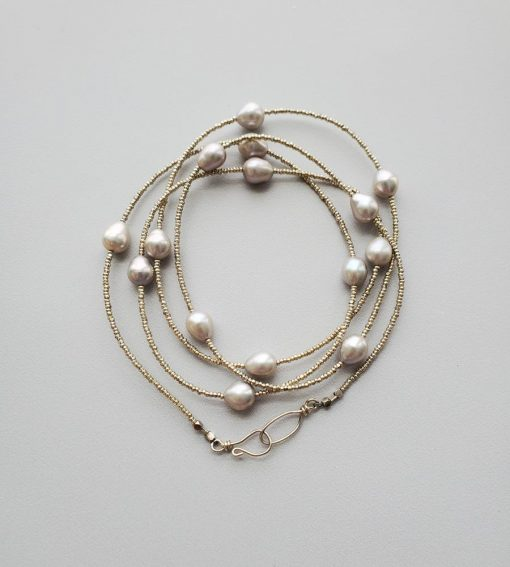 Gray pearl long silver beaded necklace handmade by Carrie Whelan Designs