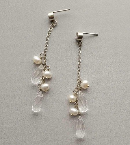 Handcrafted freshwater pearl and rock quartz dangle earrings for bride by Carrie Whelan Designs