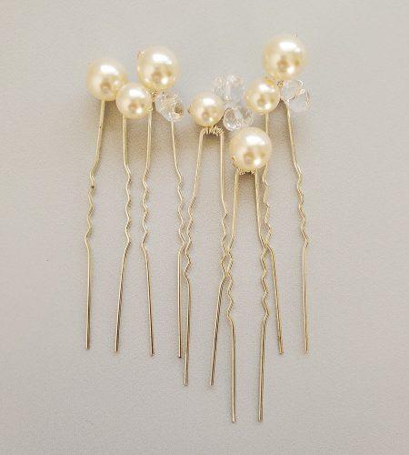 Swarovski crystal and Pearl Bridal Hairpin Set handmade by Carrie Whelan Designs
