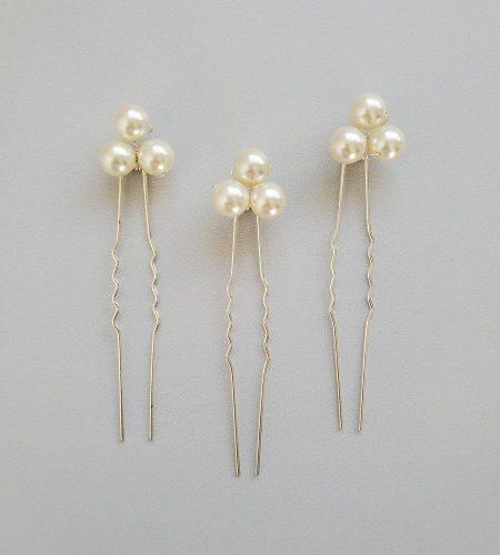 Swarovski pearl cluster hair pin set for wedding handmade by Carrie Whelan Designs