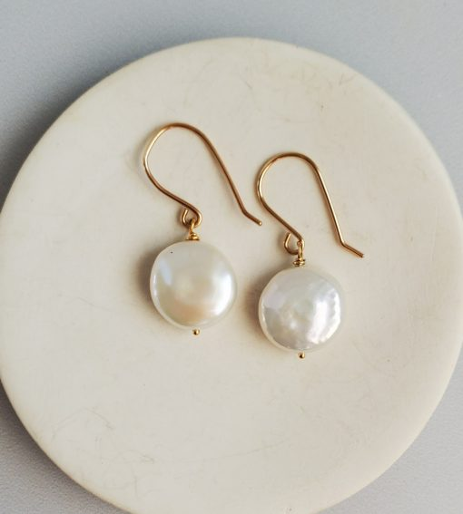 14kt gold fill coin pearl earrings handmade by Carrie Whelan Designs
