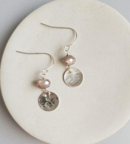 Chocolate moonstone hammered silver disc earrings handmade by Carrie Whelan Designs