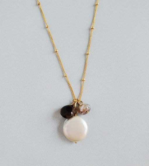 Coin pearl and chocolate gemstone cluster necklace in 14kt gold fill handcrafted by Carrie Whelan Designs