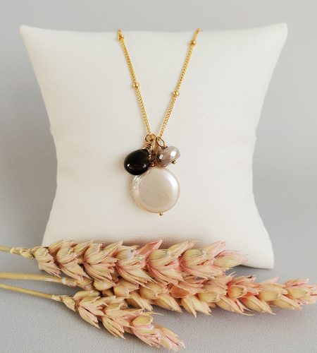 Coin pearl and gemstone cluster necklace in 14kt gold fill handcrafted by Carrie Whelan Designs
