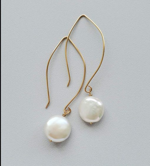 Coin pearl dangle earrings in 14kt gold fill handcrafted by Carrie Whelan Designs