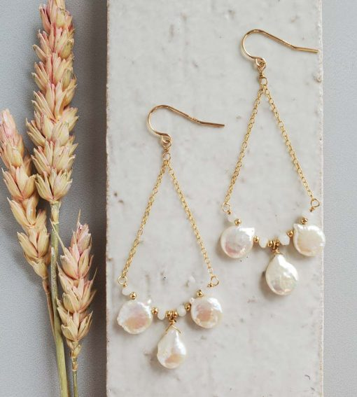 Coin pearl gold chandelier earrings handcrafted by Carrie Whelan Designs