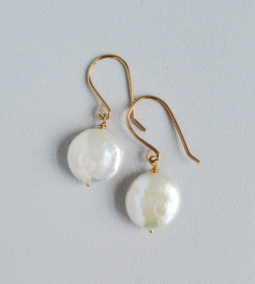 Coin pearl and 14kt gold fill earrings handmade by Carrie Whelan Designs
