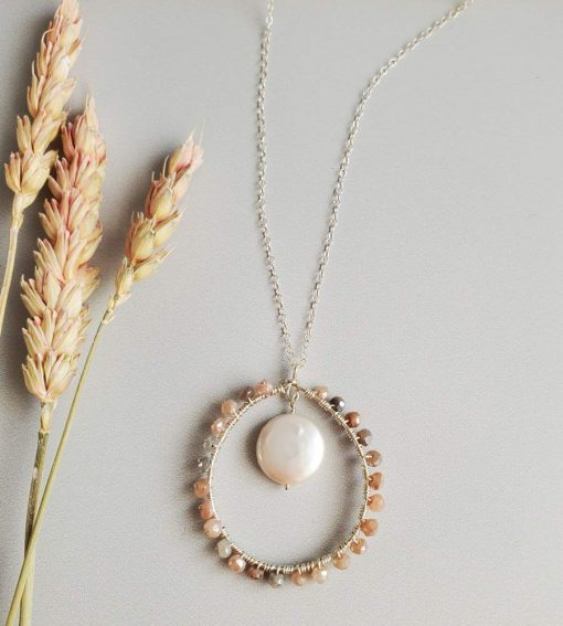 Coin pearl and moonstone circle pendant necklace handcrafted by Carrie Whelan Designs