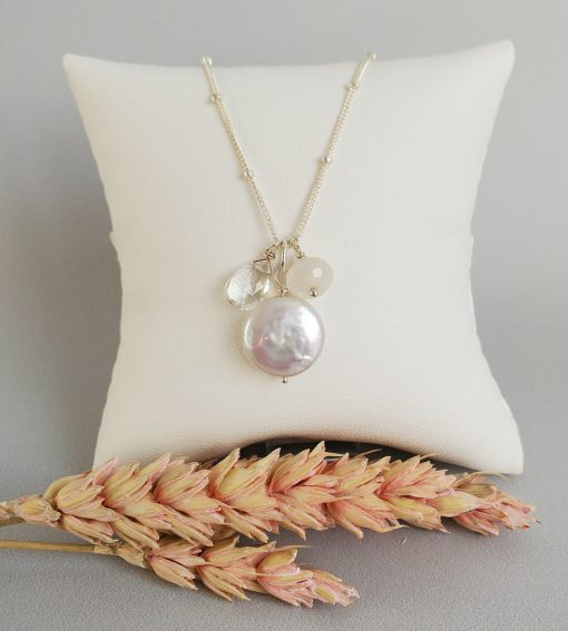 Coin pearl and moonstone cluster pendant necklace in sterling silver handcrafted by Carrie Whelan Designs
