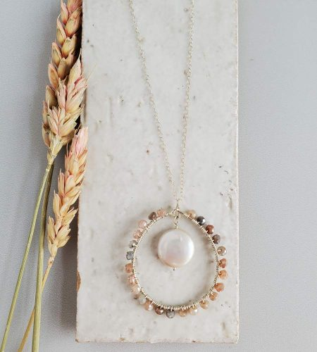 Coin pearl and moonstone long chain necklace handcrafted by Carrie Whelan Designs