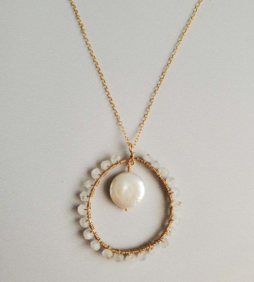 Coin pearl and moonstone long pendant necklace handcrafted by Carrie Whelan Designs