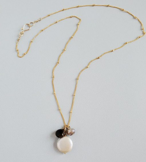 Coin pearl and smoky quartz gemstone cluster necklace in 14kt gold fill handcrafted by Carrie Whelan Designs