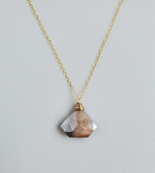 Fan peach moonstone pendant in 14kt gold fill handcrafted by Carrie Whelan Designs