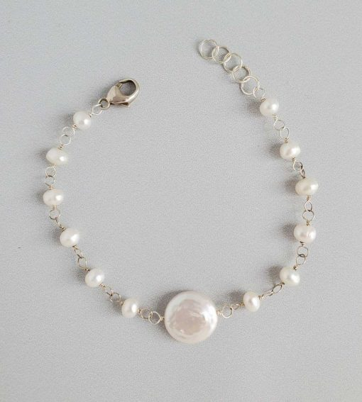 Freshwater coin pearl chain bracelet handmade for bridal jewelry by Carrie Whelan Designs