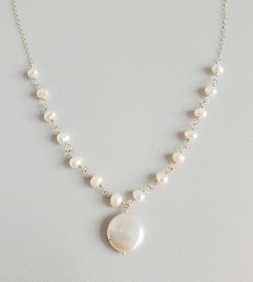 Freshwater coin pearl bridal necklace in silver handcrafted by Carrie Whelan Designs
