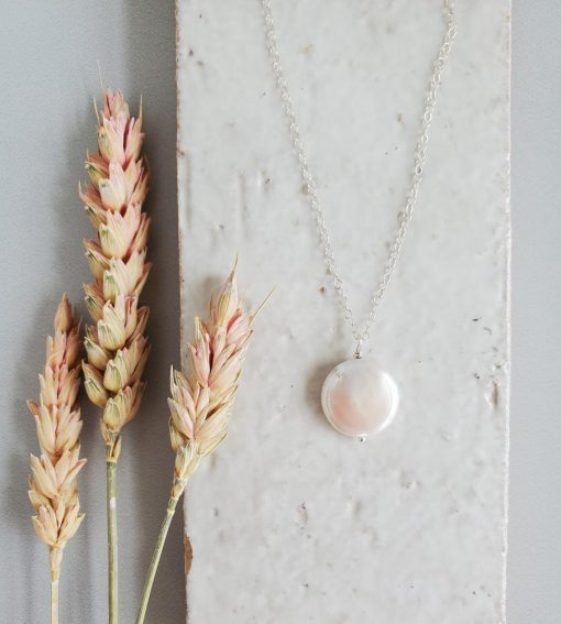 Freshwater coin pearl pendant necklace handmade by Carrie Whelan Designs