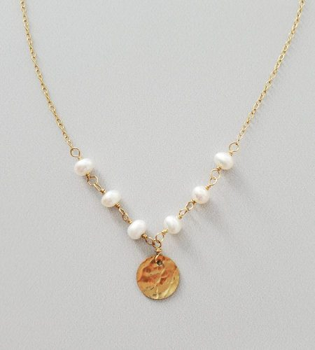 freshwater pearl textured disc necklace handcrafted by Carrie Whelan Designs